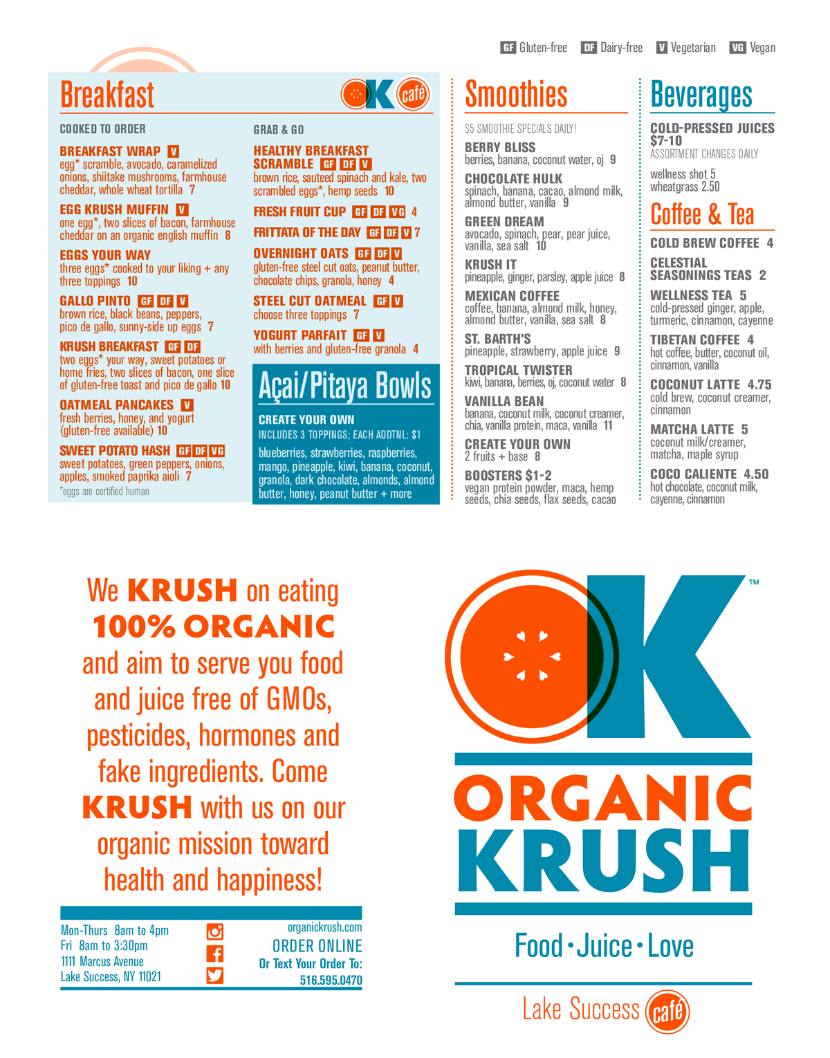 lake success cafe menu organic krush