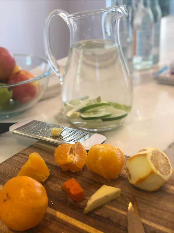 Preparing Fresh juice from Limes and Oranges
