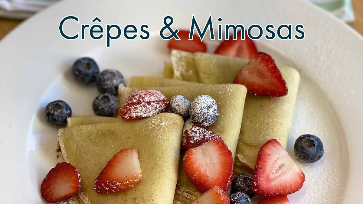 crêpes with blueberries and Strawberries
